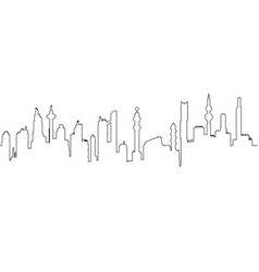 one line cityscape silhouette vector image