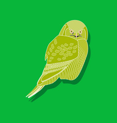Owl paper sticker on stylish background vector