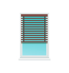 Plastic window covered with dark wooden jalousie vector
