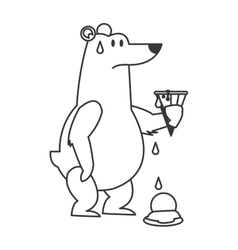 polar bear holding melted ice cream icon vector image