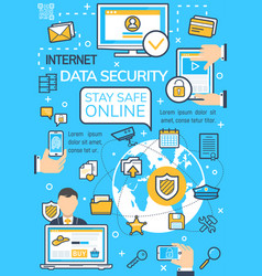 Poster of internet data security technology vector