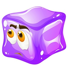 Purple cube with sad face vector image