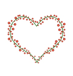 Red Berries in A Heart Shape Wreath vector