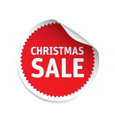 red sticker and text christmas sale vector image