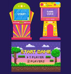 Retro arcade machine game over and start vector
