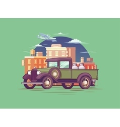 Retro Pickup Truck Concept vector