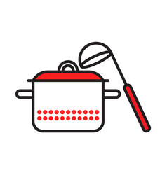 saucepan with ladle red dots vector image