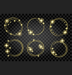 Set golden circle stardust frame isolated on vector