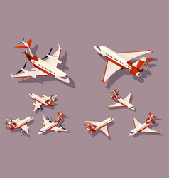 set medium and small airplane for transportation vector image