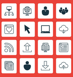 Set of 16 internet icons includes wifi save data vector