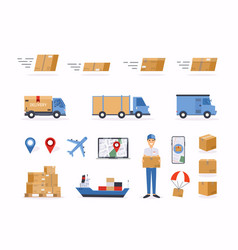 set shipping related objects vector image