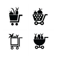 Shopping cart icons and vegetables vector
