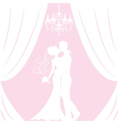 silhouette bride and groom vector image