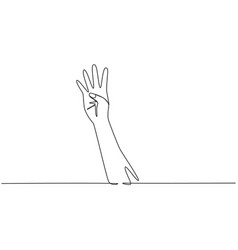 single continuous line drawing hand count number vector image