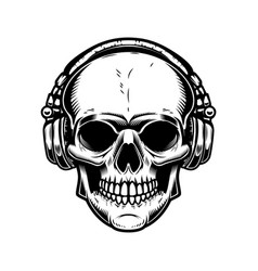 skull with headphones design element for poster vector image