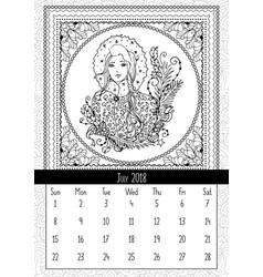 Snow maiden coloring book page calendar july 2018 vector
