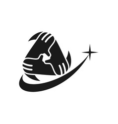 Star commitment teamwork together black logo vector