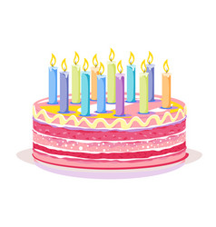 sweet birthday cake with candles vector image