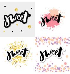 Sweet cupcake print lettering life is short make vector