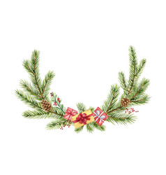 watercolor christmas wreath with green fir vector image