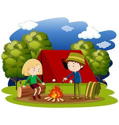 Woman and man camping at night vector image