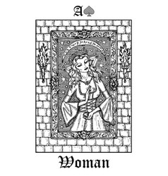 Woman or princess tarot card from lenormand vector