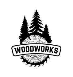 Woodworks emblem template with cutted wood design vector