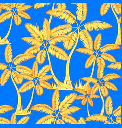 yellow orange seamless tropical palms pattern vector image