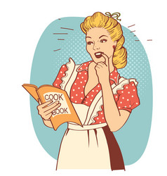 Young woman with retro clothes cooking on kitchen vector