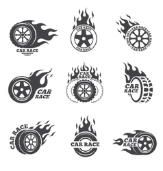 Car race logo set Wheel with fire flame vector image