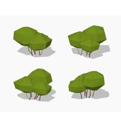 Low poly green bush vector image vector image