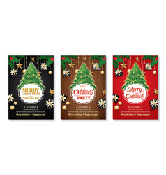 merry christmas party and tree on background vector image