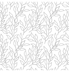 Seamless black and white background with leaves vector image