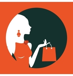 Beautiful woman shopping composed in a circle vector image vector image