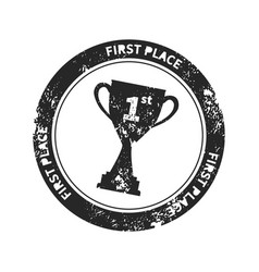 black retro stamp imprint with winner cup award vector image