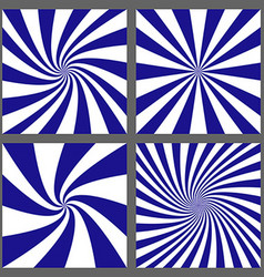 Blue white spiral and ray burst background set vector
