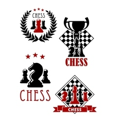 Chess game icons and emblems vector image