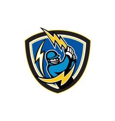 Cricket Player Lightning Bat Crest Retro vector image