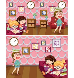 Girls reading book in living room vector