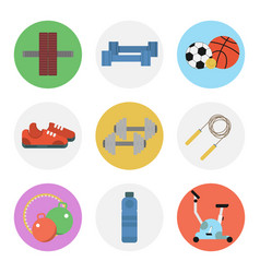 nine color flat icon set - fitness vector image