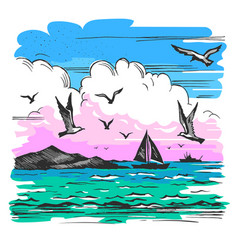 sea landscape with yachts vector image