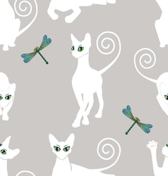 seamless pattern with white cats vector image vector image