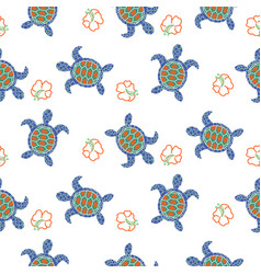 tortoise decorative seamless pattern vector image vector image
