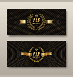 vip golden invitation template vector image vector image