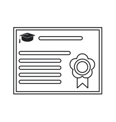 certificate diploma school icon thin line vector image