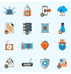 Data Protection Line Icons Set vector image