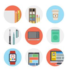 Nine color flat icon set - designer tools vector
