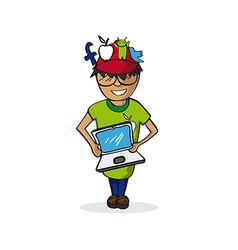 Profession social media manager man cartoon figure vector image vector image
