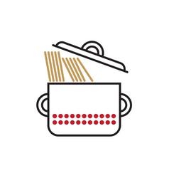 saucepan with spaghetti vector image vector image