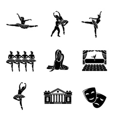 Set of Ballet monochrome icons with - ballet vector image
